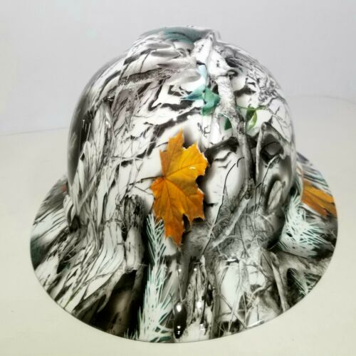 NEW FULL BRIM Hard Hat custom hydro dipped SNOW BUCK CAMO DEER HUNTER NEW SICK 2