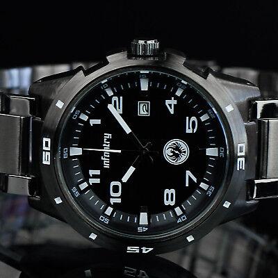 🔥INFANTRY Herren Uhr Edelstahl Armbanduhr Sport Militär Schwarz Outdoor Flieger