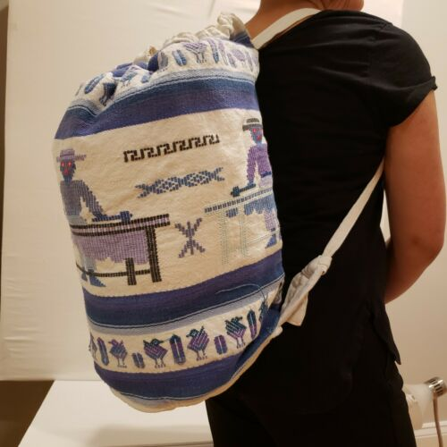 Bagpack shoulder bag  Hand Made in Guatemala with color fabr