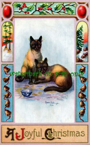 1915 Art Nouveau Border~Bells~Siamese Cats~O.Billinger~ NEW Christmas Note Cards