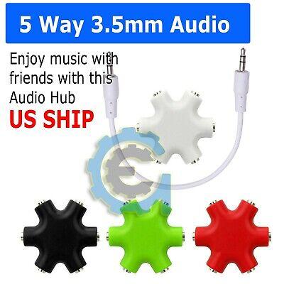 3.5mm Earphone Headphone 6way Audio Splitter 1 Male to 2 3 4 5 Female Port Cable (3.5 Mm Male Port)