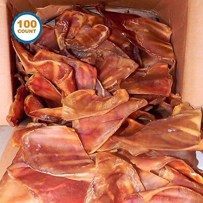 Pig Ears dog chews 100 CT | Full Large pig ears | Bulk Dog Treats by 123 treats