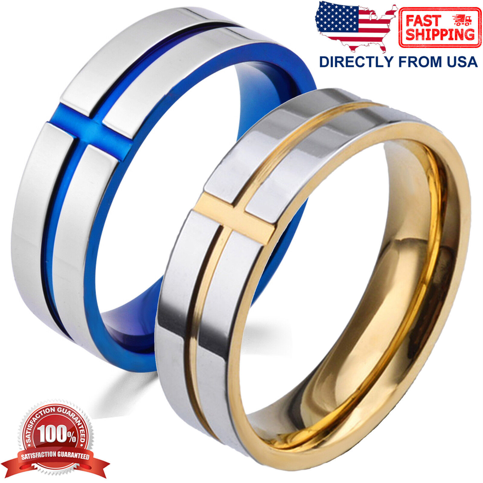 Men's Ring, Stainless Steel Cross 6mm Polished Wedding Band Jewelry & Watches