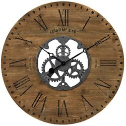 Brown Large Oversized Wall Clock Gears Rough Wood Industrial Rustic Chic Shiplap