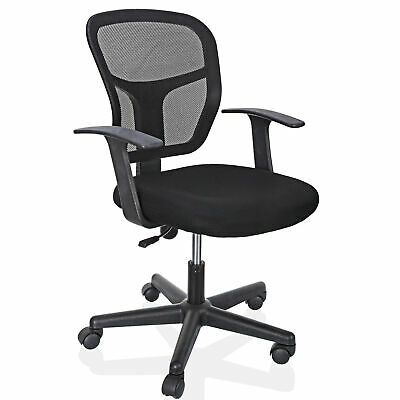 Black Ergonomic Executive Mesh Chair Swivel Mid Back Office Chair Computer Desk
