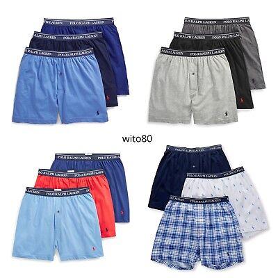 POLO Ralph Lauren KNIT BOXERS Mens Underwear 3 PACK Gray White Black S M L -