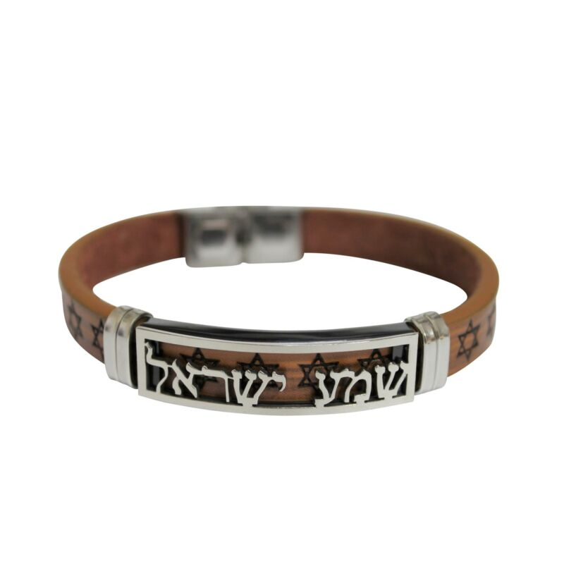 SHEMA ISRAEL Kabbala Blessing Leather Bracelet Elegant Jewish SOUL Star of David