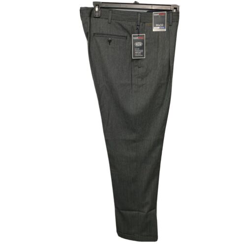 Roundtree & Yorke Travel Smart Classic Fit pleated Cuffed Pants 36×32 Grey Black Clothing, Shoes & Accessories