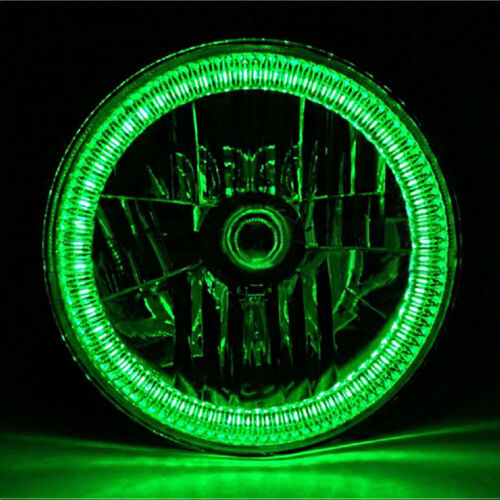 "7"" Green SMD LED Halo Angel Eye H4 Halogen 60W Light Bulb Motorcycle Headlight"