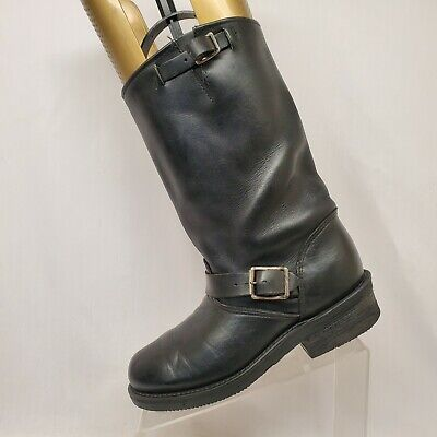 Double H Black Leather Engineer Motorcycle Riding Boots Mens Size 7 D