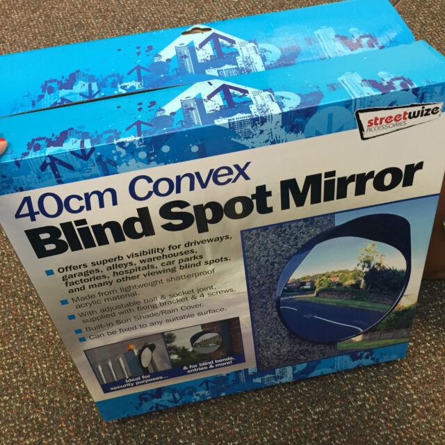 40cm Outdoor, Garage, Driveway Convex Security & Blind Spot Bend Mirror - Black