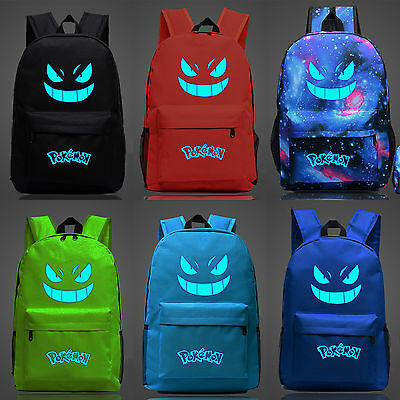 Galaxy Shool Bag Luminous Gengar Pokemon Print Bookbag Backpack Ruskback Travel - Pokemon Bookbag