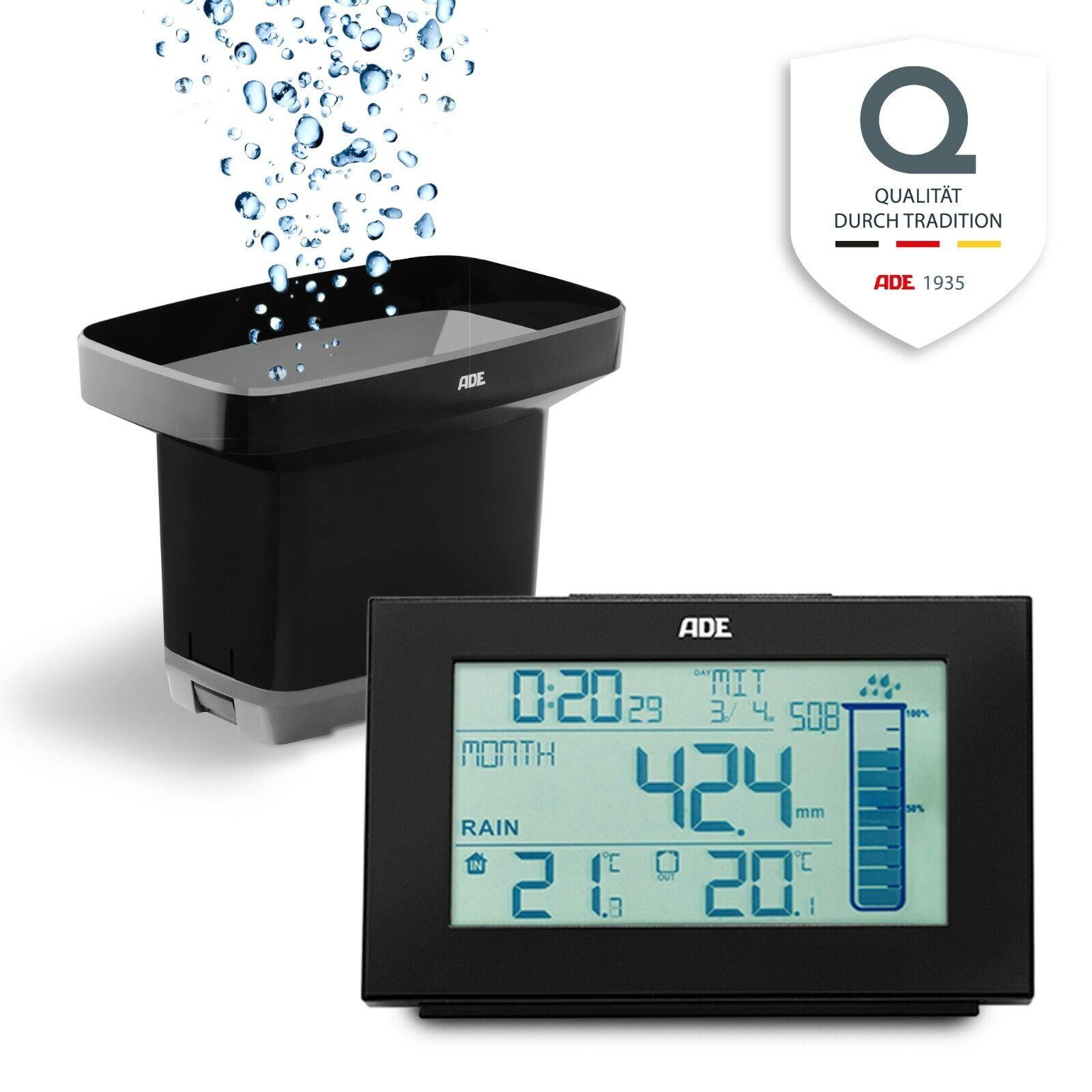 ADE Regenmesser Funk Niederschlagsmesser digital Wetterstation Garten Temperatur