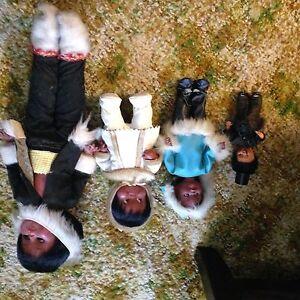 Vintage black and Eskimo dolls
