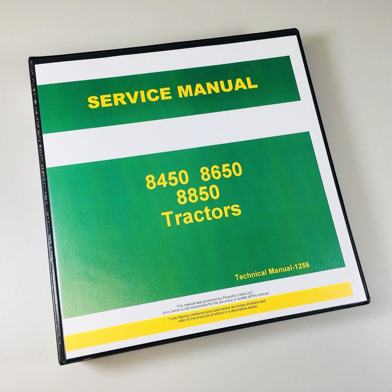 service testing manual for john deere 8450 8650 8850 tractor repair rh ebay com John Deere 1070 john deere 850 manual free download