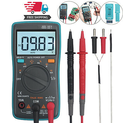 Lcd Digital Multimeter True Rms Acdc Ammeter Resistance Tester Auto Range
