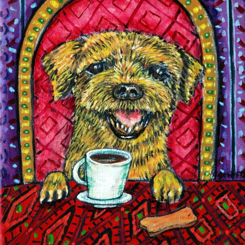 BORDER terrier ART TILE COASTER GIFT jschmetz COFFEE