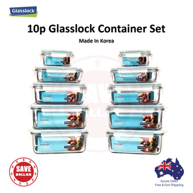 Gllock 10p Set Tempered Gl Food Container Storage Microwave Safe Bpa Free