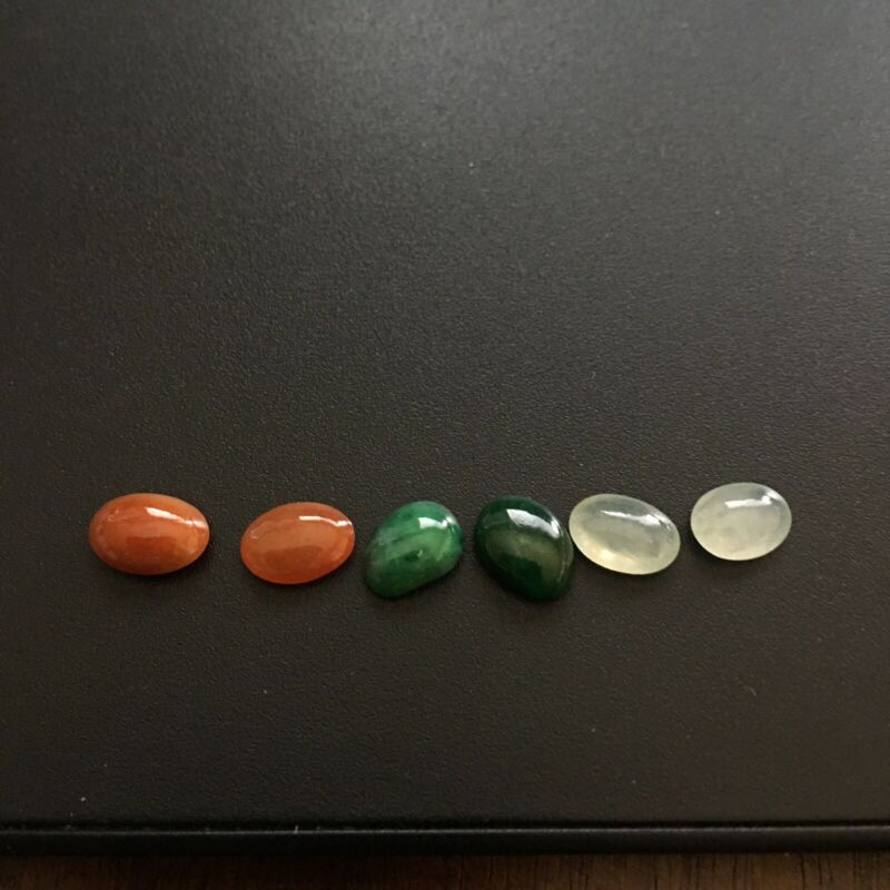 6 pcs 100% Natural Grade A Jadeite Jade Ring Pendant Earrings Cabochons D97