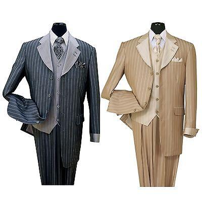 - Men's wool feel three pieces 4 button suit. Jacket collar match vest stripe 2911