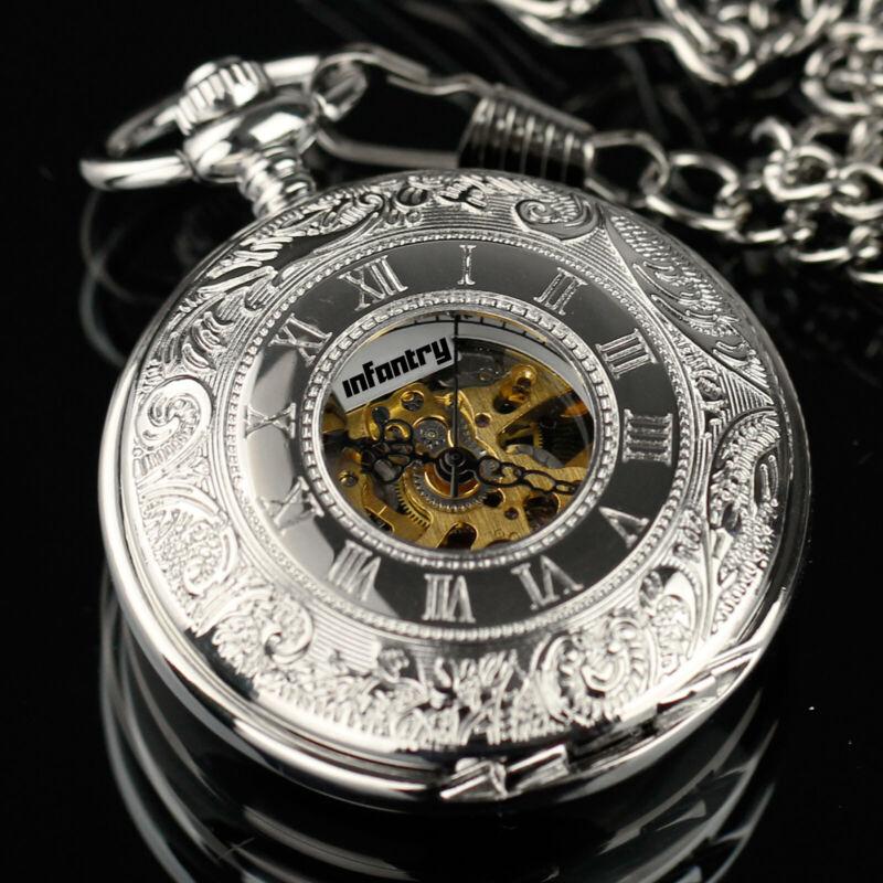 INFANTRY Mens Mechanical Pocket Watch Double Hunter Vintage Antique Design Chain