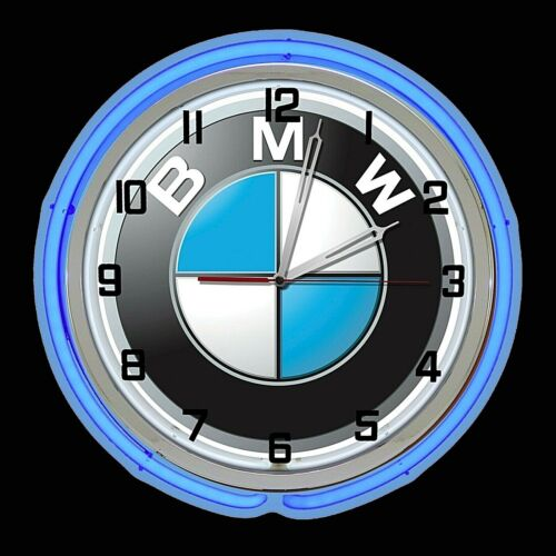"19"" BMW Sign Blue Double Neon Clock Garage Chrome Finish Bavarian Motor Works"