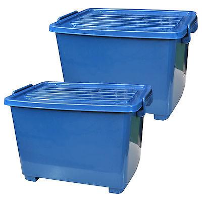 Kunststoff-behälter Mit Deckel (2 Stück  Rollenbox  mit Deckel 18 Liter blau Kunststoffbehälter Plastikkübel Box)