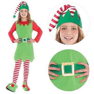 Deluxe Mädchen Elfe Kostüm Santas Kleiner Helfer Weihnachten Kostüm Outfit Party