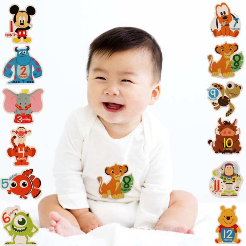 Disney Assorted Character Milestone Photo Prop Belly Stickers Set, Age 0-12M