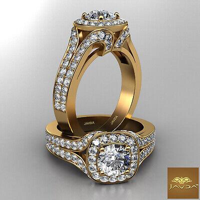 Halo Split Shank Bridge Accent Round Diamond Engagement Ring GIA F VVS2 2.11 Ct