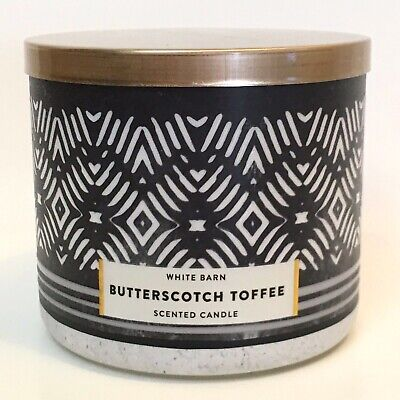 - NEW 1 BATH & BODY WORKS BUTTERSCOTCH TOFFEE SCENTED 3-WICK 14.5 OZ LARGE CANDLE