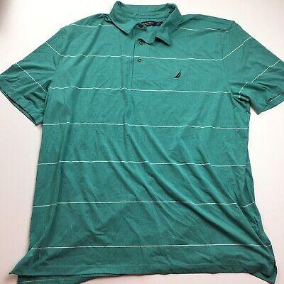 Nautica Wicking Mens Teal Polo Shirt 3XL XXXL Short Sleeve Striped