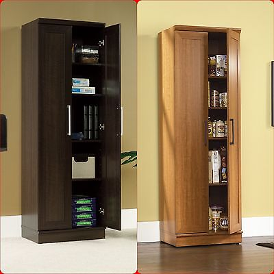 خزانة جديد Tall Cabinet Cupboard Storage Organizer Office Laundry Kitchen Food Pantry Shelf