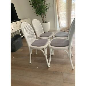 White wicker dining chair x 4 lounge lovers near new ...