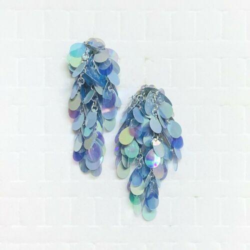 Vtg Clip On Earrings Costume Retro 80s Bohemian Flashy Blue Indigo Sequin Dangle