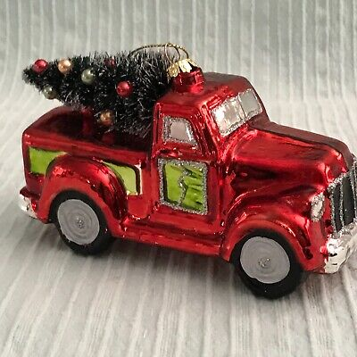 Glass Shiny RED Pickup Truck with Tree and Glitter CHRISTMAS Tree Ornament