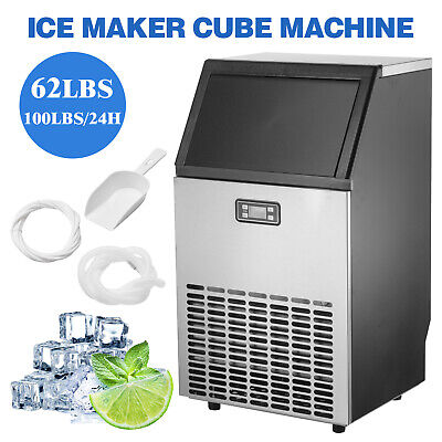 Built-in Commercial Ice Maker Stainless Steel Restaurant Ice Cube Machine Silver