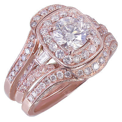 GIA H-VS2 14k Rose Gold Round Cut Diamond Engagement Ring And Bands 2.70ctw 9