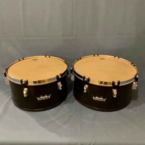"2 Remo Timbales 13"" & 14"" with Black Shells Remo Drums"