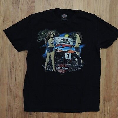 California Girls T-shirt (Harley Davidson T Shirt California Girls Flag Black Palm Trees Mens Size Large)