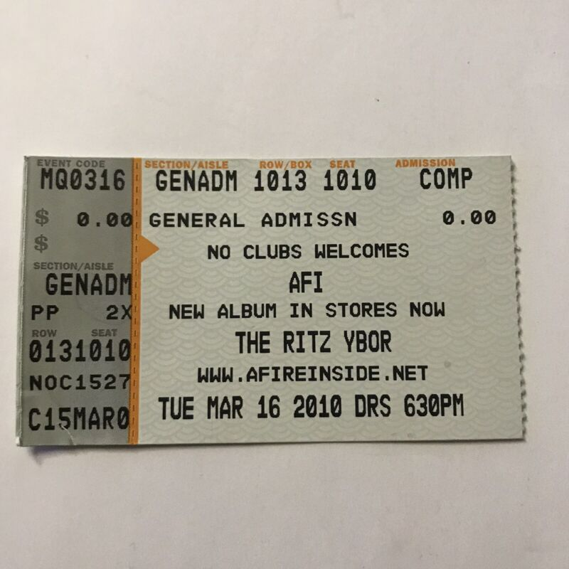 AFI A Fire Inside The Ritz Ybor Tampa Florida Concert Ticket Stub March 2010