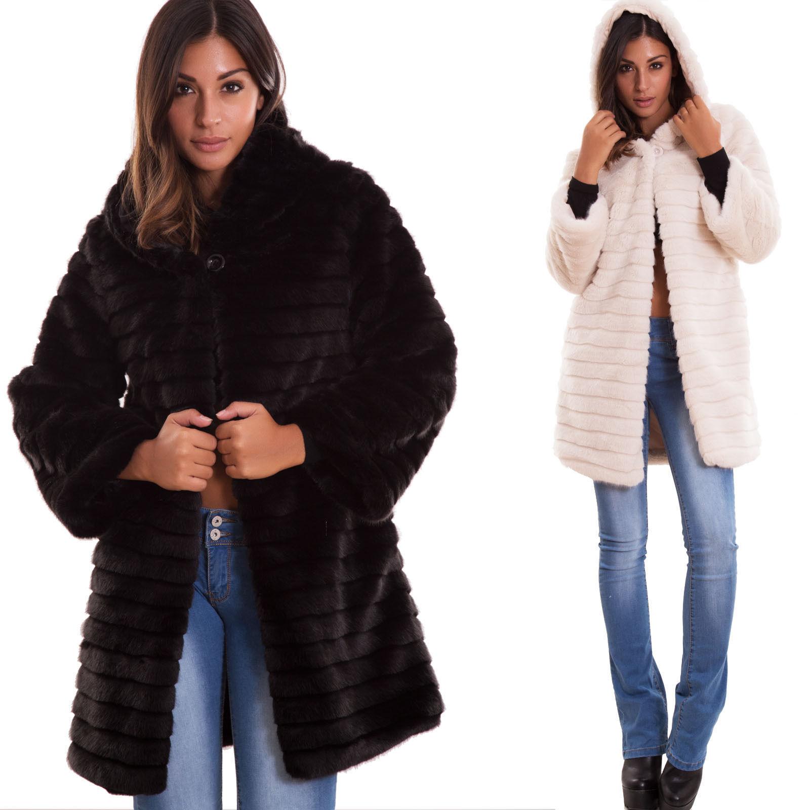 13a8a05f4f26a3 Pelliccia ecologica donna bottone cappuccio cappotto maniche lunghe nuova  16009