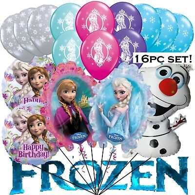 16 Pc. FROZEN Balloon Set !! ANNA ~ ELSA ~ OLAF Mylar Latex Birthday Party