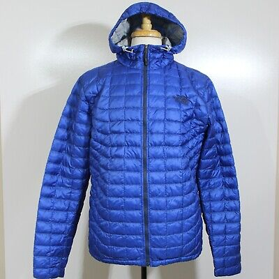 The North Face Thermoball Puffer Zip Jacket Hood Mens Medium Blue