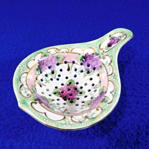 Antique Tea Strainer Hand Painted Moriage Porcelain Japan Nippon