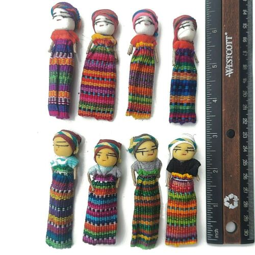 """LOT - 12 Worry Dolls 3"""" Tall Hand Crafted Native Kids Cultural Collectible"""