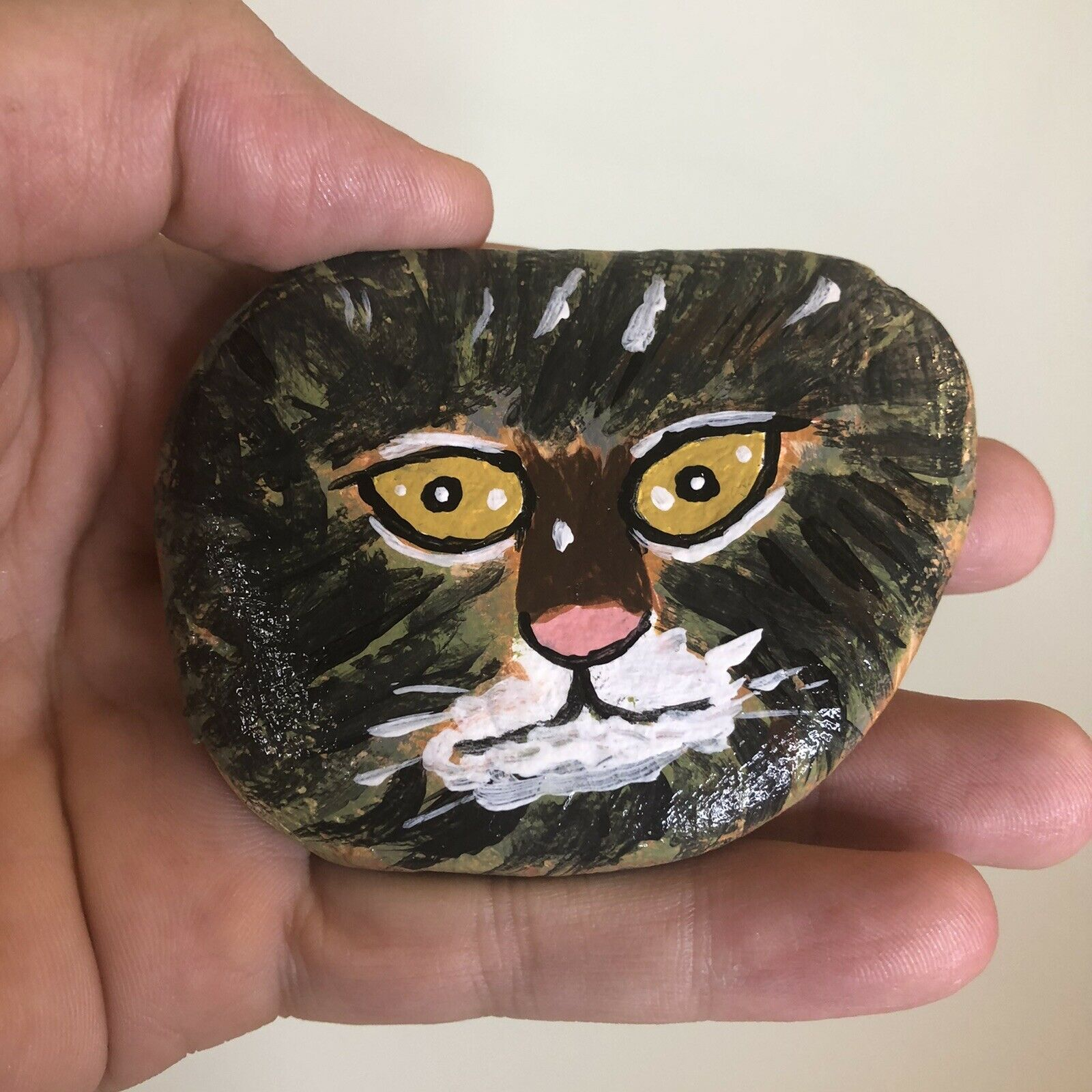 HAND PAINTED Kitten Cat Face ON Beach ROCK Gift Sweet Art Stone Cat Face  - $13.99