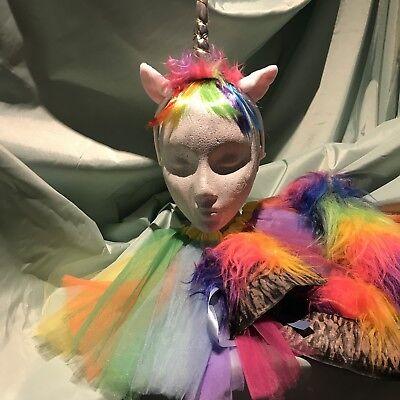 Hoof Costume (Unicorn Ears,Tail, Hoofs & Tutu Rainbow Fur Trim Fancy Dress Costume Set New)