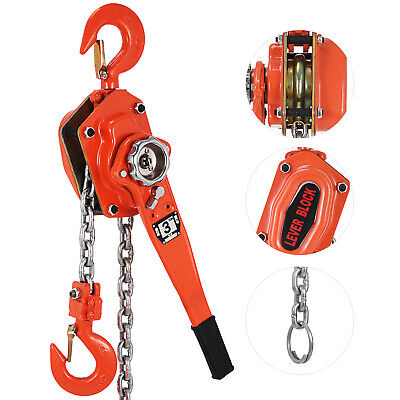 3ton 5ft Block Chain Hoist Come Along Ratcheting Lever Puller Red Pop