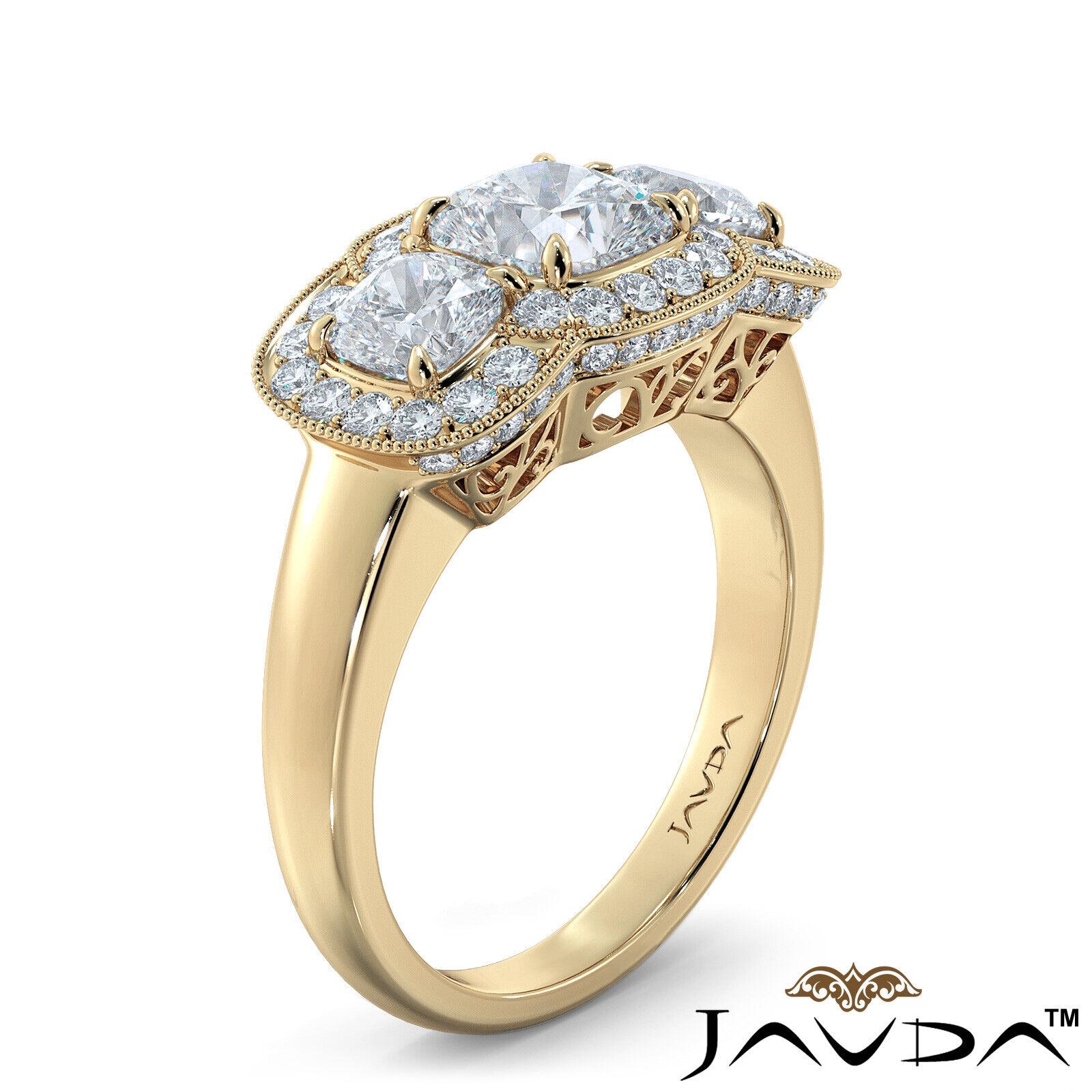 2.25ctw Milgrain Halo 3 Stone Cushion Diamond Engagement Ring GIA I-SI1 W Gold 8